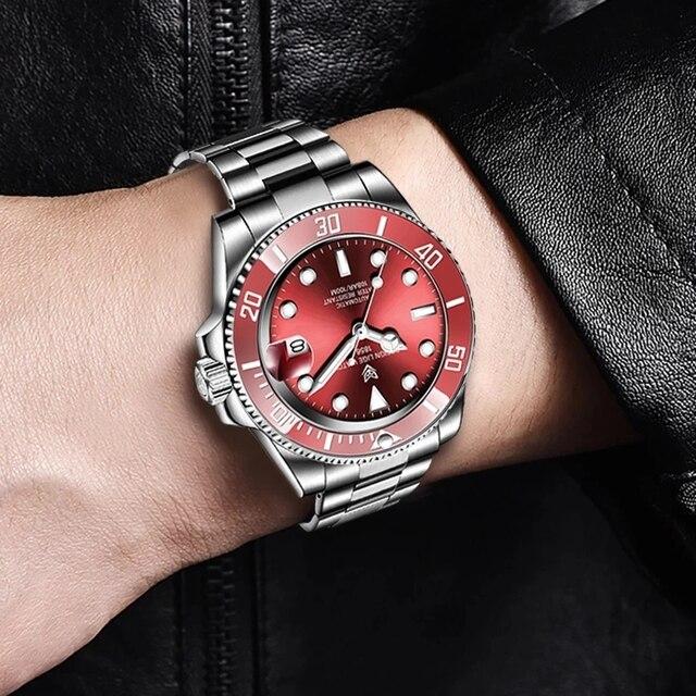 2021 Red Men Watches Top Brand Luxury Sapphire Watch Waterproof Automatic Mechanical Watch Mens Fashion Sport 316L Steel Clock 5