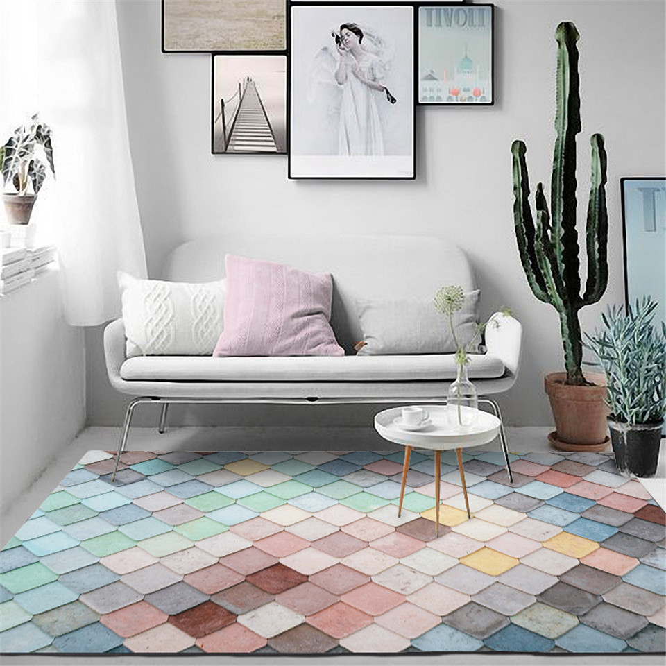 Korean Macaron Colorful Geometric Carpet Girl Bedroom Pink Blue Green Mosaic Large Rugs For Living Room Nordic Home Decoration