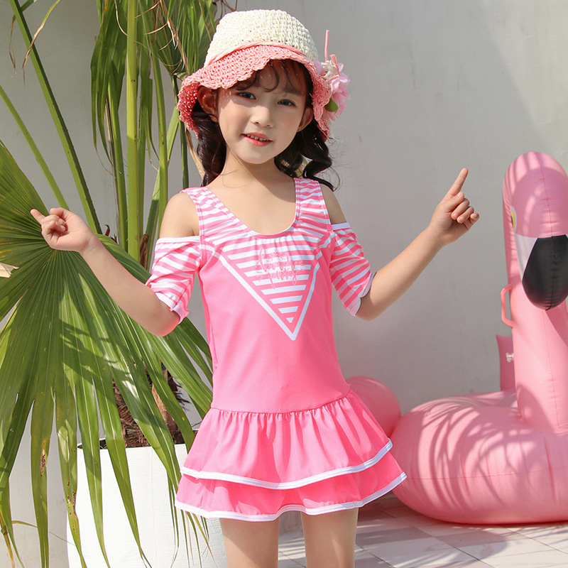 2019 New Style Hot Sales KID'S Swimwear Stripes Solid Color Backless Boxer Tutu One-piece Small CHILDREN'S GIRL'S Swimsuit