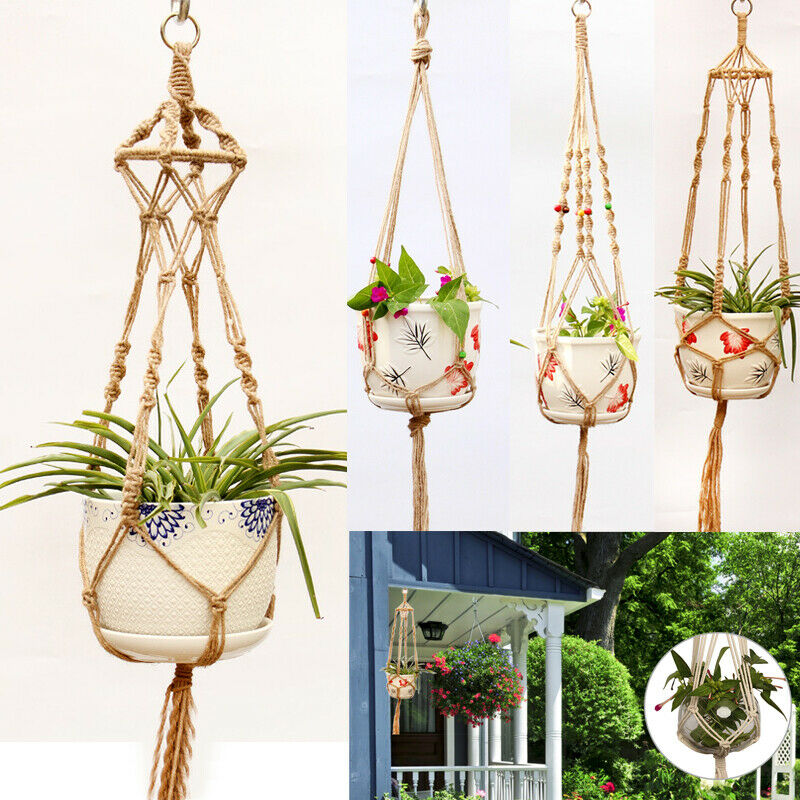 Straw Macrame Plant Hanger Flower Pot Garden Holder Legs Hanging Rope Basket Household Garden Decoration Dropshipping-in Hanging Baskets from Home & Garden