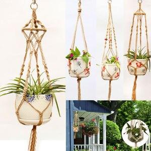 Image 1 - Straw Macrame Plant Hanger Flower Pot Garden Holder Legs Hanging Rope Basket Household Garden Decoration Dropshipping
