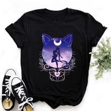 WVIOCE-Camiseta de Sailor Moon para mujer, Top negro con estampado de dibujos animados Harajuku, ropa de calle para mujer de Hip Hop, ropa blanca de mujer con cuello redondo