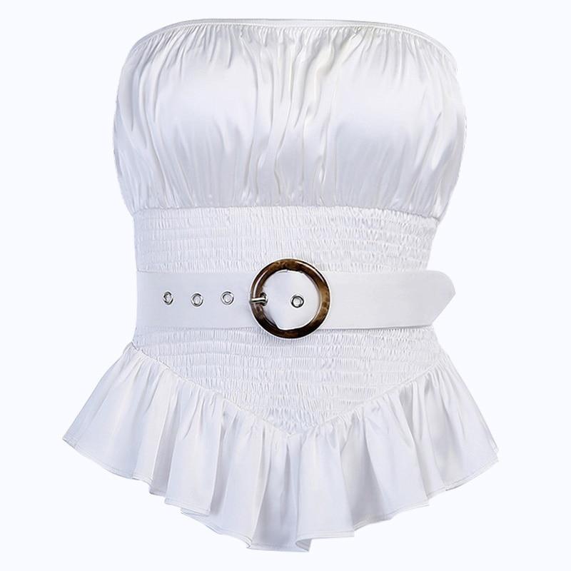 Beyouare Ruffle Strapless Blouse Sashes Slim Waist Asymmetric Hem Holiday Casual Elegant Blouse Belt Solid Shirt Summer Blouse