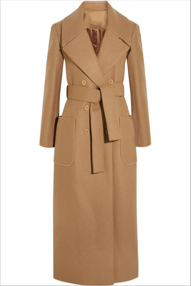 Image 5 - Solid Wide waisted Women Long Woolen Coat Double Breasted Warm 