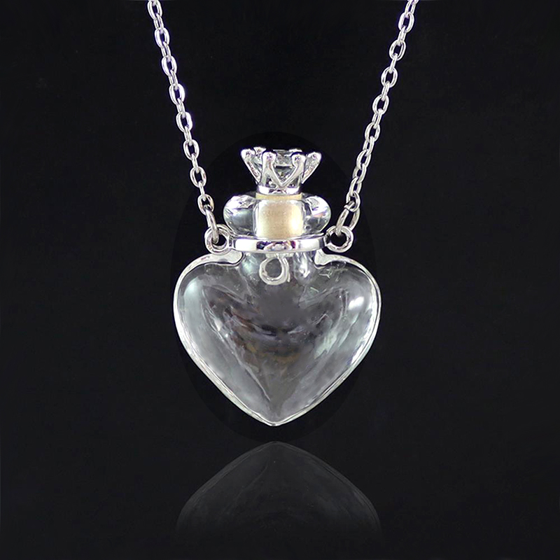 Stainless Steel Heart Chain and Pink Glitter Glass Pendant Necklace