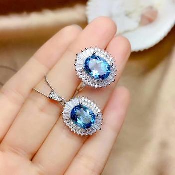 shilovem 925 sterling silver Natural blue topaz Rings pendants fine Jewelry women wedding send necklace 8*8mm mtz0810228agb