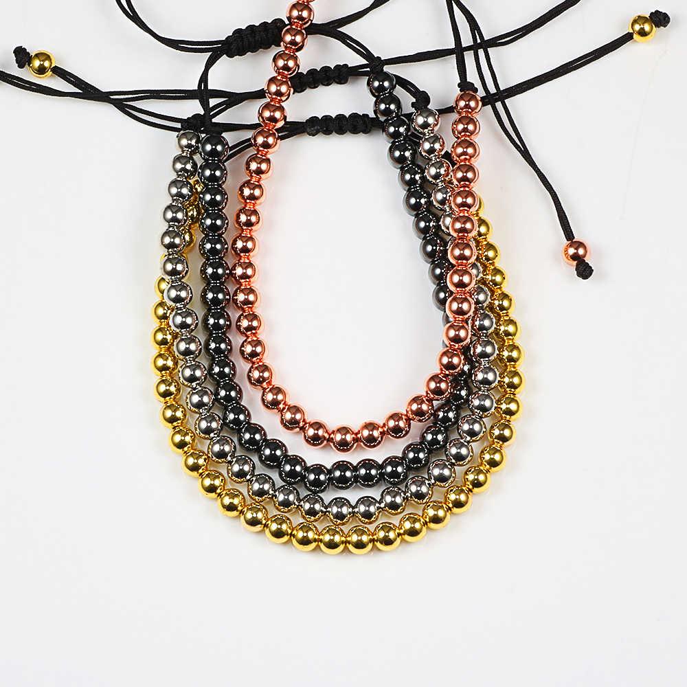 Boho kadınlar ince bilezik 5MM altın bakır boncuklu el yapımı örgülü bilezikler bilezik ayarlanabilir halat erkekler el takı parti hediyeler