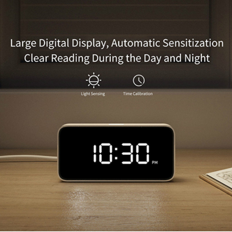 Original Xiaomi Mijia Xiaoai Smart Alarm Clock Voice Broadcast Clock ABS Dersktop Clocks AutomaticTime Calibration Mi Home App image