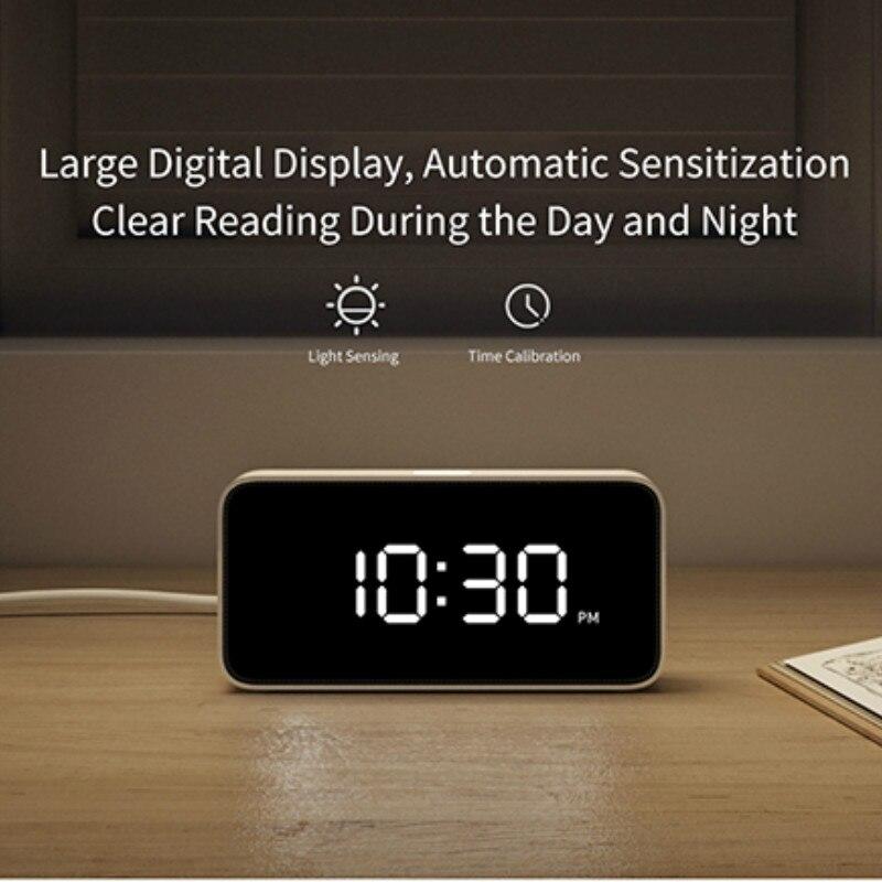Original Xiaomi Mijia Xiaoai Smart Alarm Clock Voice Broadcast Clock ABS Dersktop Clocks AutomaticTime Calibration Mi Home App