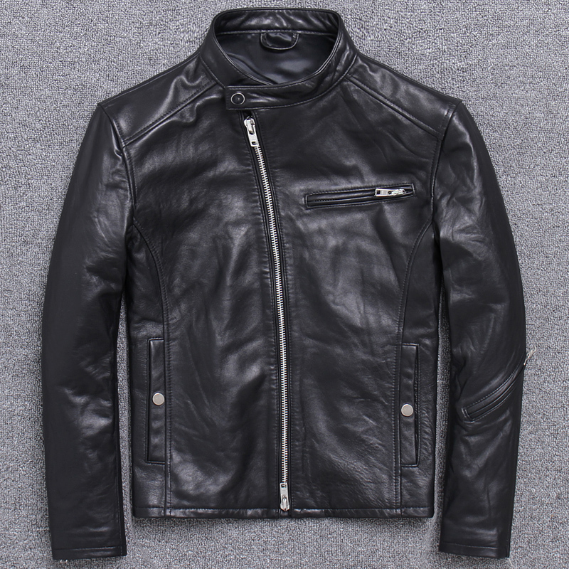 Real Genuine Leather 100% Sheepskin Coat Vintage Short Biker Motorcycle Jacket Men Chaqueta Cuero Hombre U-1202 J3200