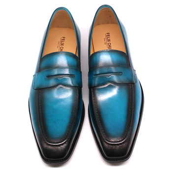 Size 39-47 Handmade Mens Penny Loafers Genuine Leather Light Blue Men Dress Shoes Wedding Party Slip On Shoes Italian Fashion