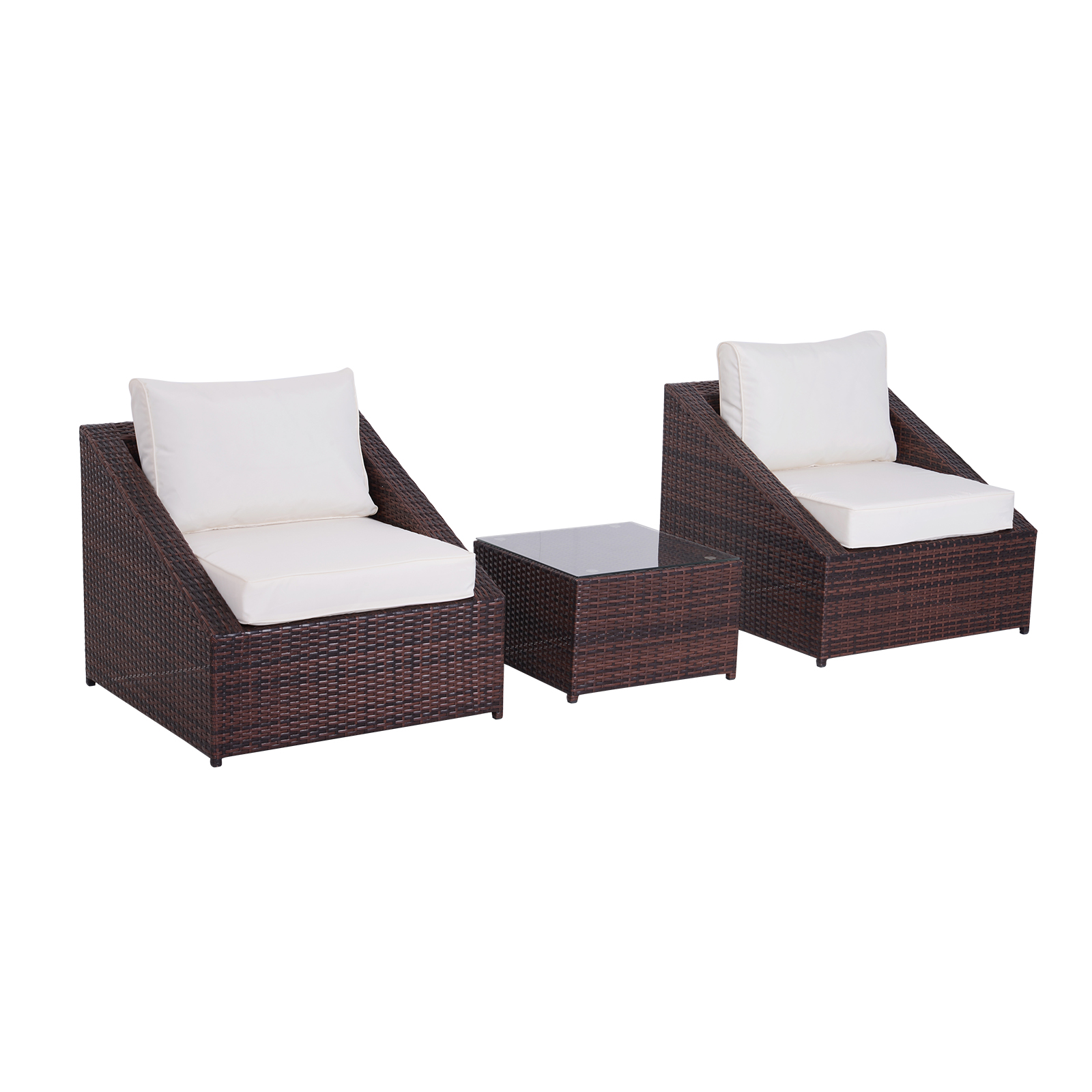 Outsunny Furniture Set With Coffee Table 2 Arm Chairs With Cushions Garden PE Rattan Brown