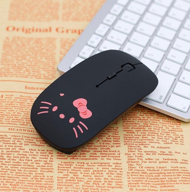 Wireless Mouse Cute Hello Kitty Ultra Thin Computer Mice 1600DPI USB Optical Gaming Mause For PC Laptop kids Girl Gift 1