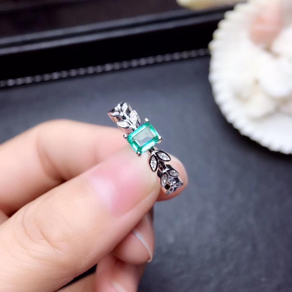 Feuille forme émeraude pierre gemme anneau pour femmes bijoux 100% naturel gemme 925 en argent sterling ornement fête t anniversaire cadeau vert - 3