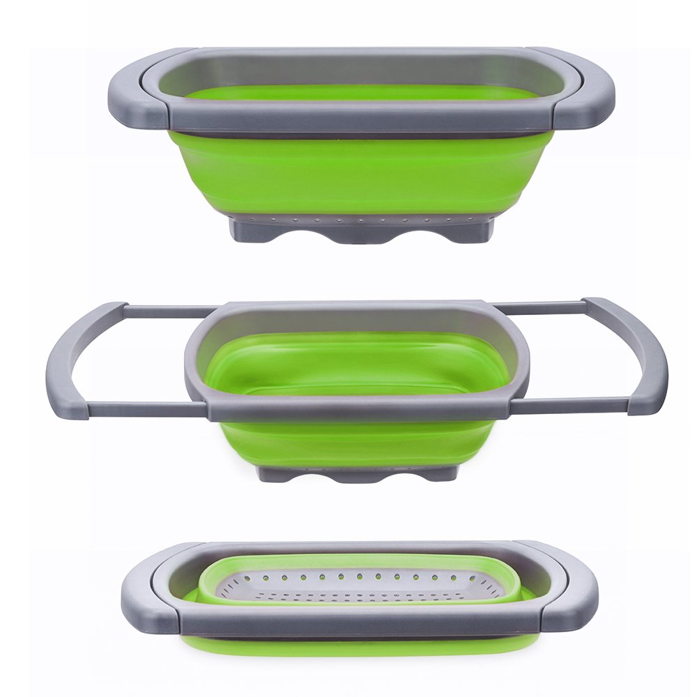 Silicone Collapsible Colander Quart Over the Sink Strainer Round Folding  Food Grade Silicone Vegetable Strainers Dishwasher