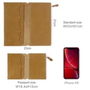 Image 2 - Porta cartões em couro legítimo, bolsa com zíper para guardar cartões, acessórios para notebook, artesanal, planejador de sketchbook, 100%
