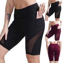 Fitness feminino com bolso calças de yoga cintura alta yoga curto abdômen treinamento de controle execução yoga calças