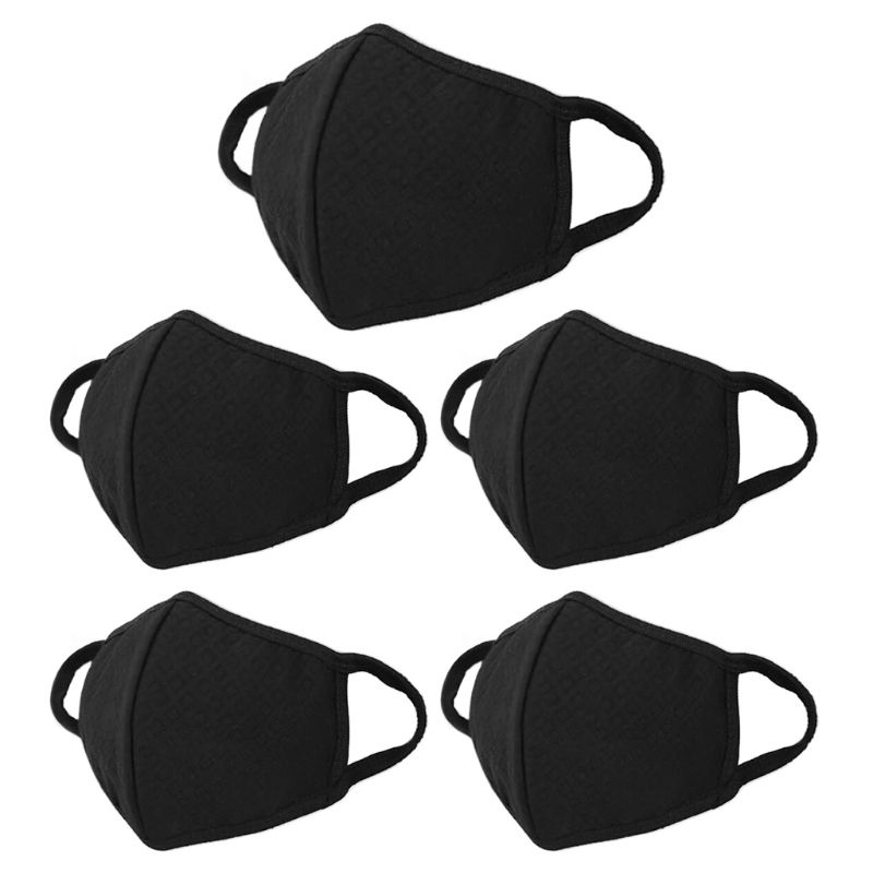 1Pc/5Pcs Unisex Washable Black Mouth Mask Anti-Haze PM2.5 Activated Carbon Dustproof Outdoor Cycling Earloop Face Cover