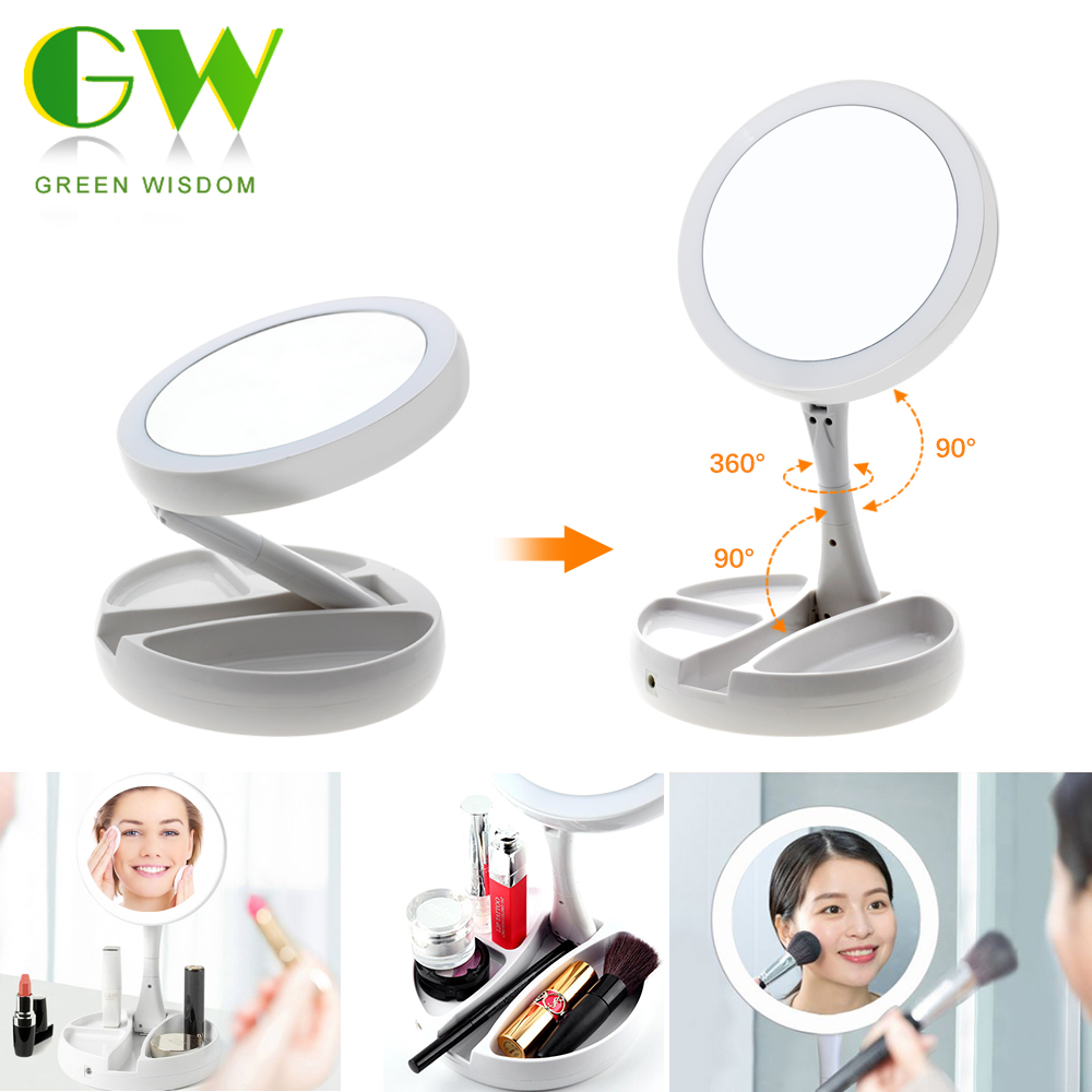 LED Lighted Folding Makeup Mirror 1X10X Magnifying Rechargeable HD Cosmetic Mirrors Table Round Shape Double-sided Vanity Mirror