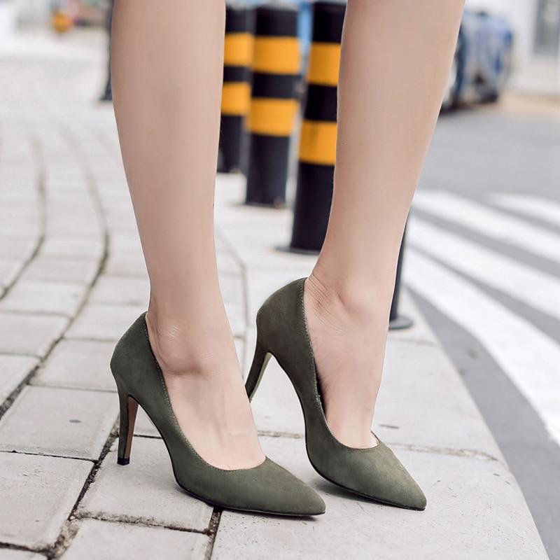 Donna in Echtem Leder Frauen Schuhe 2019 Frühling Spitz Pumpen Dünne Hohe Ferse Pumpen Kid Suede 7,5 cm ferse Party Damen Schuhe-in Damenpumps aus Schuhe bei  Gruppe 3