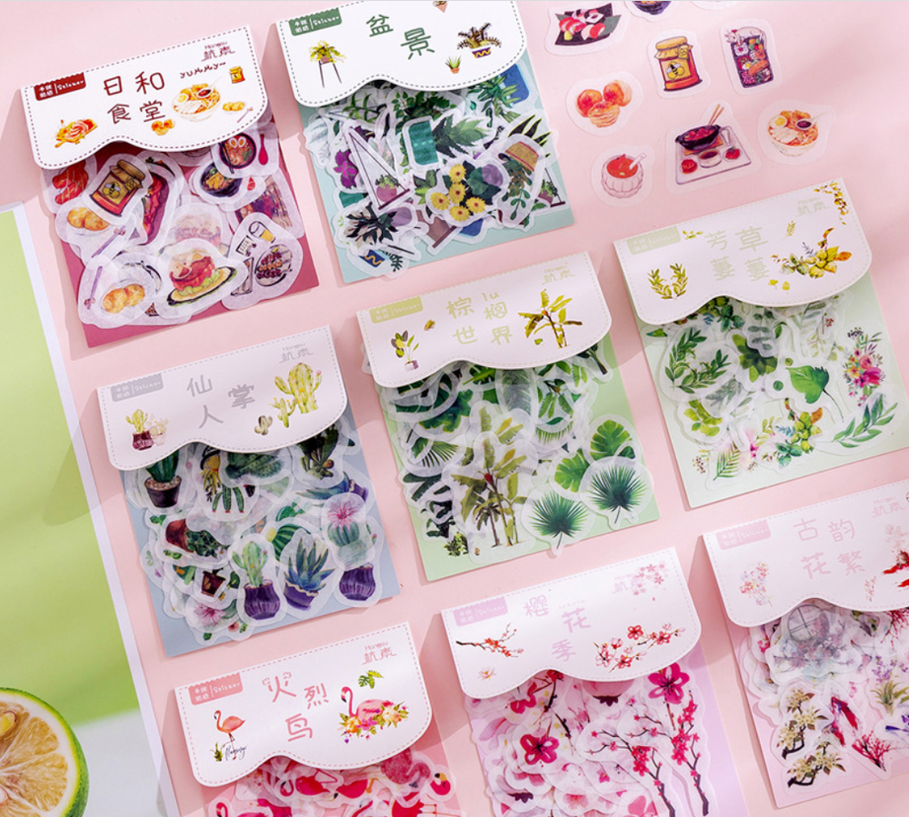 40 Pcs/lot Green Plant Flowers Cartoon Washi Paper Sticker Kawaii Decoration DIY Album Diary Scrapbooking Label Stickers Gifts
