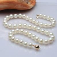 A>ss144 2019 genuine AAA9 10mm white cultured pearl necklace 17/585