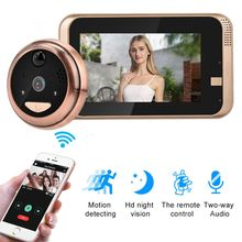 Peephole Camera Wifi 4.3 Inch Home visible Cat Eye Doorbell Smart Voice Phone In