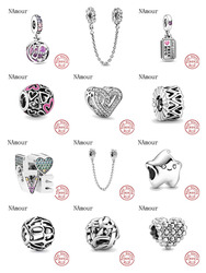 Ajuste original pandora encantos pulseira 925 prata esterlina infinity corações & estrelas amor casal grânulo diy jóias fazendo berloque