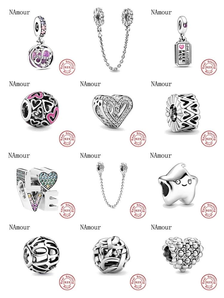 Fit Original Pandora Charms Bracelet 925 Sterling Silver Infinity Hearts &  Stars Love Couple bead DIY Jewelry Making Berloque
