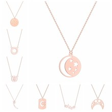 New Fashion Jewelry Geometric Crescent Moon Star Sun Pendant Necklace For Women Gift 3 Colors Gold & Rose Gold & Silver(China)