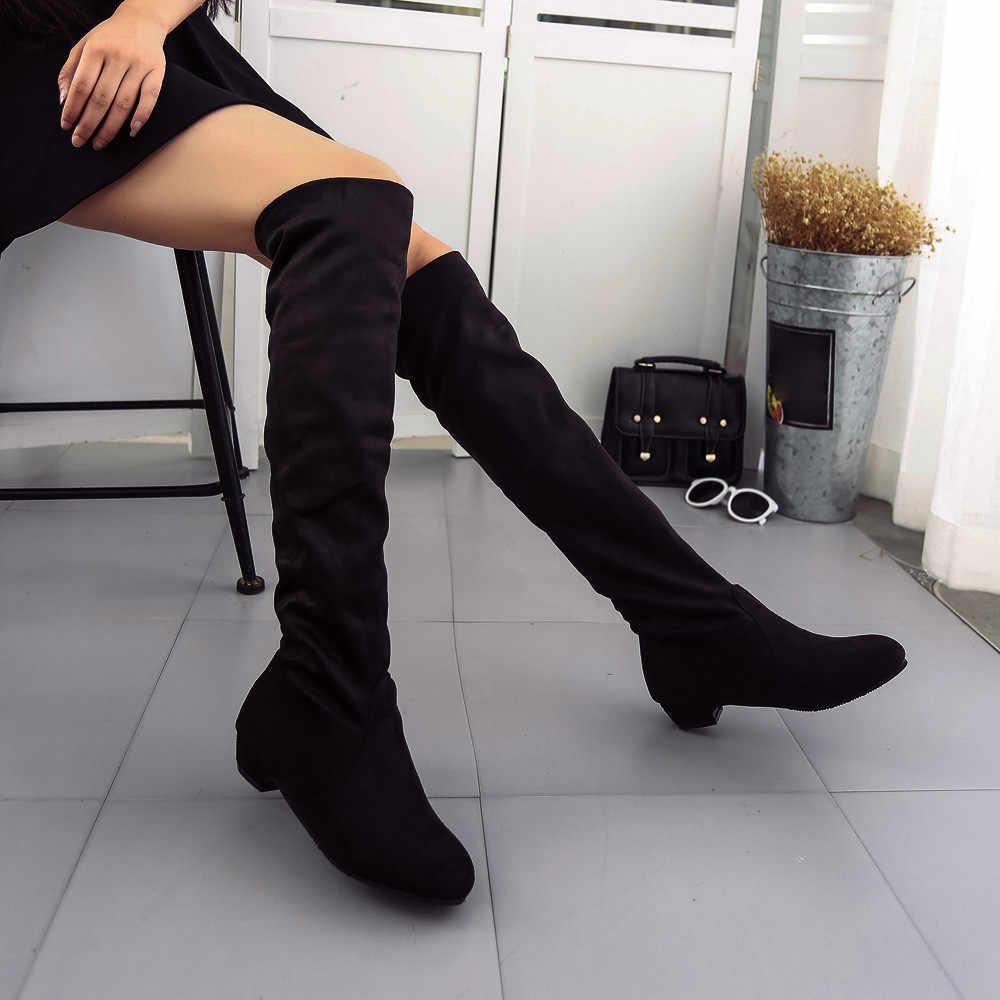 แบนต้นขาสูงรองเท้าบูทผู้หญิงฤดูหนาวกว่าเข่ารองเท้า Comfort Suede สุภาพสตรีรองเท้าผู้หญิงรองเท้าสีเทาไวน์สีดำรองเท้า 2019