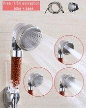 Negative Ionen Steigern Einstellbar Jet Dusche Kopf 3 Modi Hochdruck Wasser Saving Freies 1,5 m Verschlüsselung Rohr Und Basis