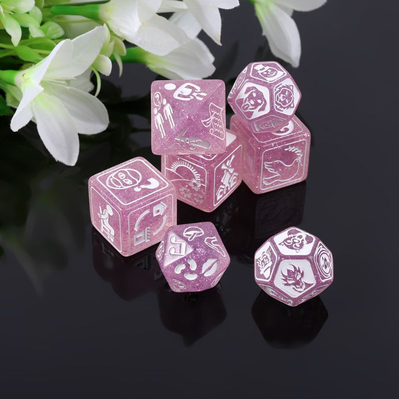 7pcs/set Story Dices For Story Time Polyhedral Game Dice Says Party Multi Faces Acrylic Dice Toy Q1FF