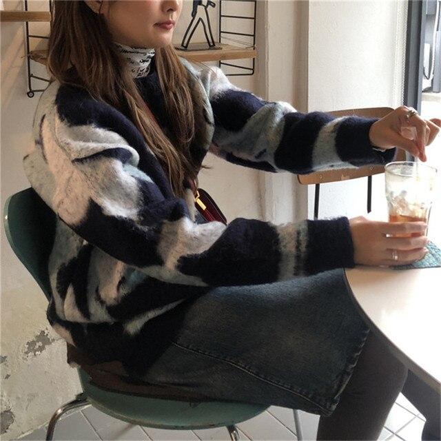 Камуфляжный шикарный винтажный мохеровый Универсальный свитер