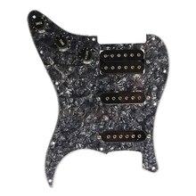 купить Electric Guitar Pickguard Pickups Loaded Prewired 11 Hole SSH Black Pearl онлайн