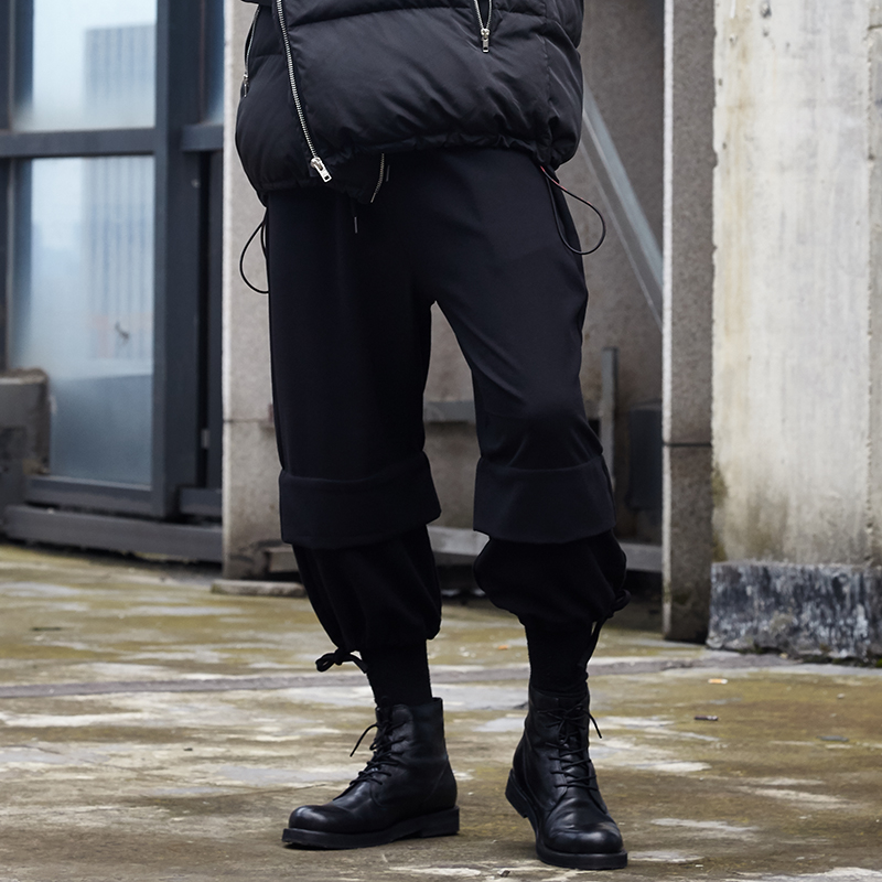 Trousers Men Sweatpants Joggers Harem Loose Male Streetwear Black-Style Gothic Casual