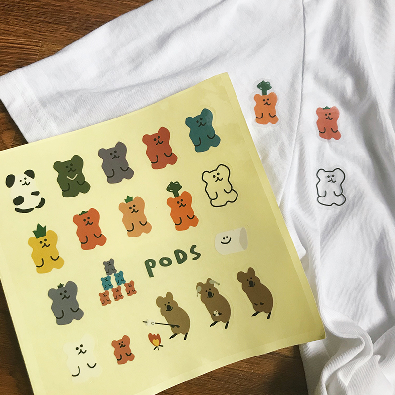 SIXONE Cute Soft Bear Pvc Decor Sticker Waterproof Oil Proof Kawaii Korean Label Diary Album Decorative Stickers Toys Sticker