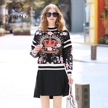 SEQINYY Warm Sweater 2020 Spring Autumn New Fashion Design Pink Flowers Crown Embroidery Short Knit Pullovers