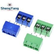 10 Uds KF301-3P 301-3P 3 P 3 Pin Plug-En Bloque de terminales de tornillo conector, paso de 5,08mm 2 Terminal de tornillo del perno Bloque de terminales de tornillo bien