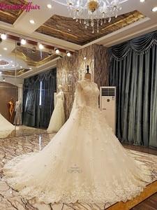 Luxe perles robe De mariée manches longues dentelle 2019 robe De bal robes De mariée personnalisé Royal Train robe Vestido De Noiva