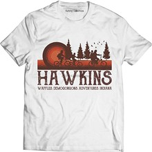 Hawkins Waffles Demogorgons Adventures Indiana Vintage Shirt Stranger Lovers Things Fan Movie T Shirt(China)