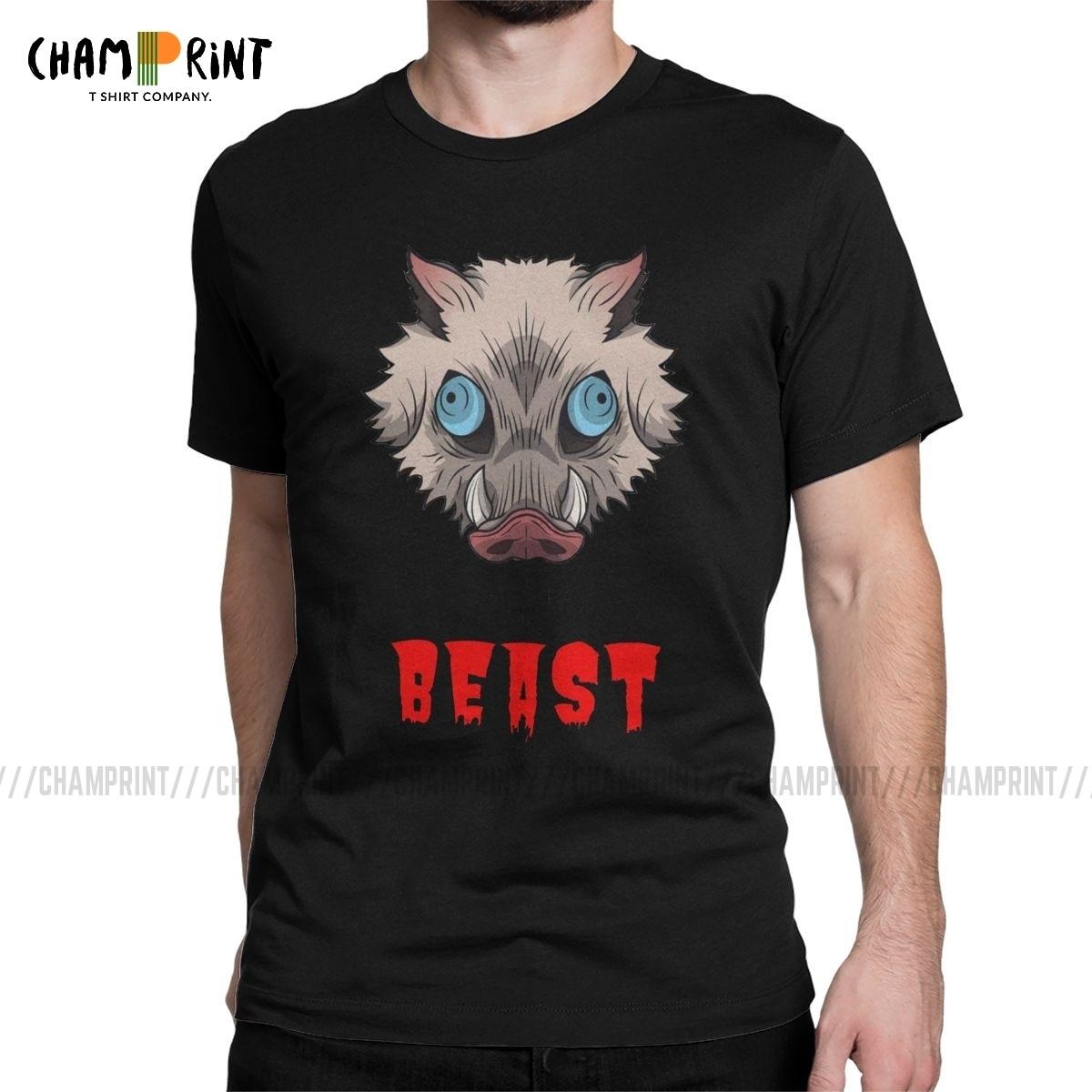 I'm A Beast Hashibira Inosuke T Shirt For Men Cotton Humor T-Shirt Demon Slayer Anime Tees Short Sleeve Clothing Gift Idea