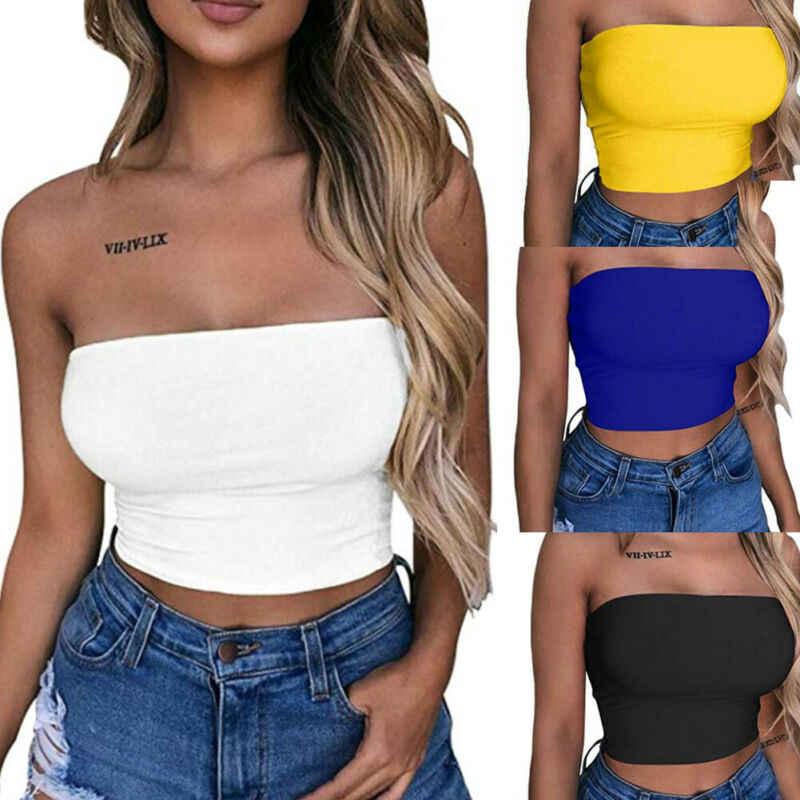 Kadınlar için açık omuzlu elastik tüp üst sutyen bluz straplez Bandeau kırpma üstleri gömlek