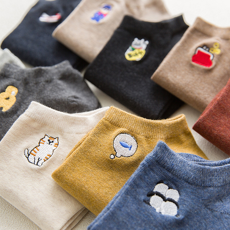 New Simple Cartoon Animal Embroidery Short Sock Shallow Mouth Breathable Comfortable Sweat Women Cotton Short Sock Hosiery