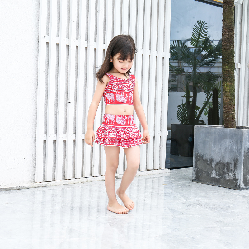KID'S Swimwear Girls Split Skirt Triangle Sun-resistant Beach Quick-Dry Princess Cute Big Boy Students Swimwear