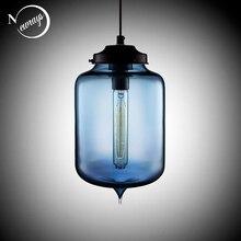 Loft Vintage Antike Industrielle Bunte Glas Anhänger Lichter Leuchten mit 6 Farbe Lampenschirm E27/E26 für Restaurant Cafe Bar