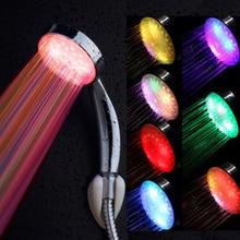 Цветной светодиод душ насадка 7 цветов пеленальный душ насадка нет батарея светодиод водопад душ насадка круглая ванная насадка для душа