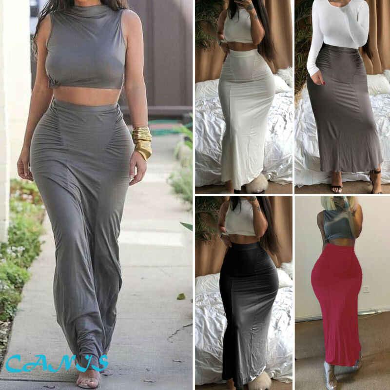 Moda mujer Sexy Bodycon lápiz falda sin costuras elástico plisado Maxi Falda larga señoras sólido caliente faldas