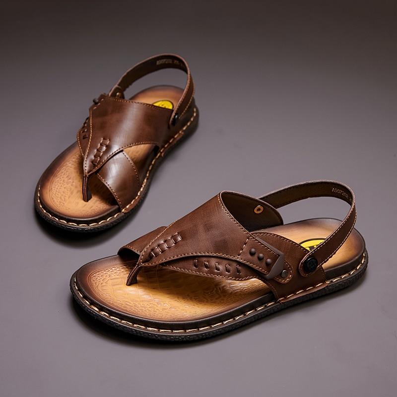 Men's Casual Slippers Summer Fashion Luxury Soft Comfortable Flip Flops Hollow Open-Toed Water Walking Male Beach Sandals