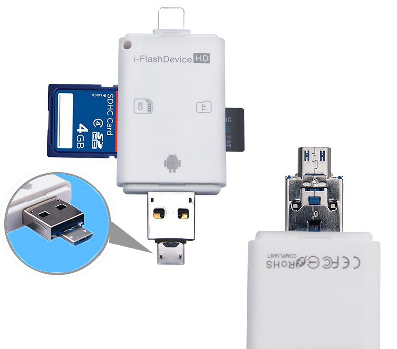 3in1 Computer Micro SD SDHC TF SD Card Reader For IPhone 11 Pro 12 X XS MAX XR 6 7 8 Plus For Ipad For Xiaomi Android OTG Phone